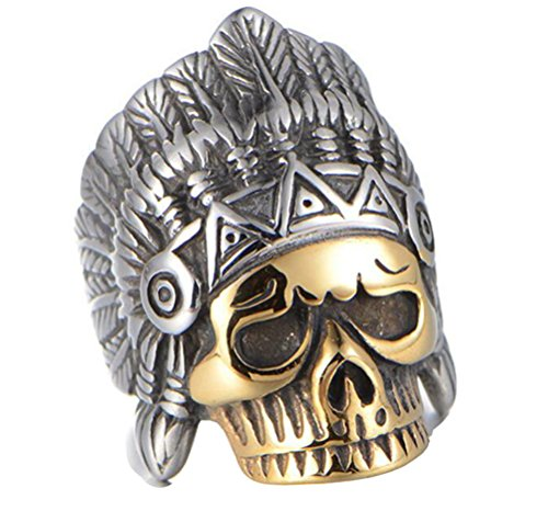 HIJONES Men's Stainless Steel Vintage Indian Skull Ring with Chief Headdress Gold Plated Size 9 (Indian Chief Headdress For Sale)