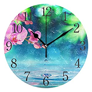 Wall Clock Orchid Flowers with Zen Stone Silent Non Ticking Operated Round Easy to Read Home Office School Clock 17