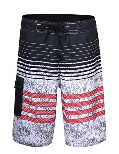 Hilor Men's Swim Trunk Quick Dry Beach Shorts Boardshorts Striped Pattern 4 Red - Shorts Striped Swim