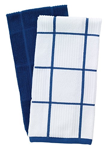 T-Fal Textiles Woven Solid & Checked Parquet Design, Highly Absorbent 100% Cotton Kitchen Dish Towel, 16-inch by 26-inch, Set of 2, (Flow Blue Dishes)