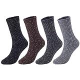 Lovely Annie Big Girl's 4 Pairs Pack Soft Cotton Crew Socks Size L/XL HR1614-4P4C-01(Black,Coffee, Dark Grey, Grey)