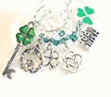 St. Patrick's Day Wine Charms, Irish Wine Charms, Irish Gifts, Shamrock and Claddagh Wine Charm Glass Tag Identifier - 6 wine charms