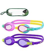 Monkey Forest Kid Swim Goggles, 2 Packs Anti-Fog Leak Kids Swimming Goggles, Adjustable Strap Flexible Nose Bridge Design, Wide View Swim Glasses for Children and Teens (Age 6-14)