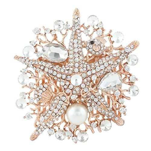 EVER FAITH Starfish Bride Cream Simulated Pearl Hair Comb Clear Austrian Crystal Rose (Starfish Austrian Crystal)
