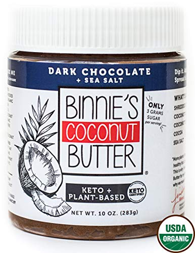 (Binnie's Coconut Butter Organic Spread - Keto, Raw, Vegan, Low Carb, Non GMO - Dark Chocolate & Sea Salt (10 oz))