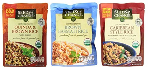 Seeds of Change Organic Heat & Eat Rice Side Dish 3 Flavor Variety Bundle: (1) Quinoa & Brown Rice w/Garlic, (1) Brown Basmati Rice, and (1) Caribbean Style Brown Rice & Red Beans, 8.5 Oz Ea (3 (Style Whole Grain)