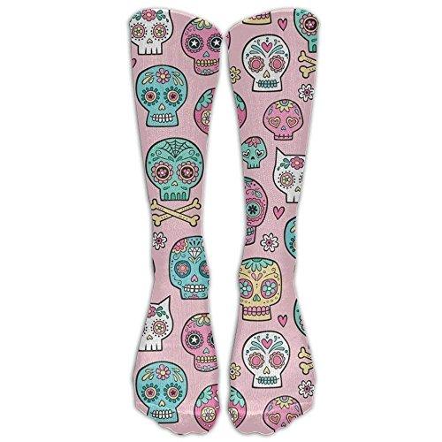 Knee Skull Pink Socks - Sugar Skulls On Pink Compression Socks Foot Long Stockings Anti Fatigue Varicose Veins Socks For Men Women Supports Sport Running Cycling Football Slim Leg Travel Medical Nursing.