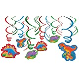 """Amscan 674488 Dashing Prehistoric/Dinosaur Value Pack Swirl Birthday Party Decorations, 3"""" X 5"""" (12 Pack), Multi Color,; 24"""""""