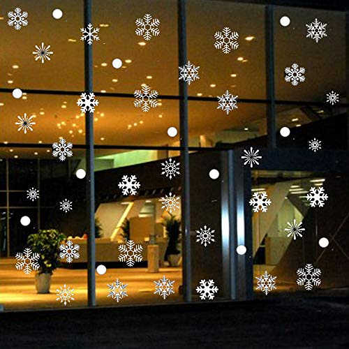 OPACC 330PCS Christmas Snowflake Window Clings Decal Wall Stickers - Xmas/Holiday/Winter Wonderland White Decorations Ornaments Party Supplies(6 Sheets) (Style A)]()
