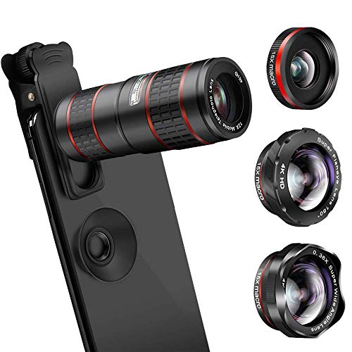 Phone Camera Lens, Minisoo 5 in 1 Cell Phone Lens Kit - 12X Zoom Telephoto Lens + 180° Fisheye Lens + Super Wide Angle Lens+ Macro Lens Compatible with iPhone X XS Max XR/8/7/6/6s Samsung Andriod