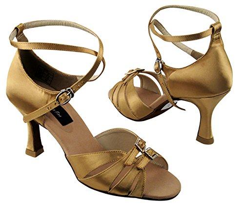 Molto Bella Ballroom Latino Tango Salsa Scarpe Da Ballo Per Le Donne Cd2176 Tacco 3 Pollici + Pieghevole Fascio Di Pennello Tan Satinato