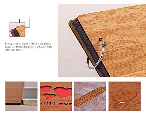 11 x 8 inch DIY Wood Cover Photo Album Self Adhensive Black Cards Scrapbook Album,30 Sheets (Full Love) by Green fox (Image #2)
