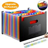 Expanding Files Folder 24 Pockets/Expandable Accordion File Organizer Bag A4/Letter Size Plastic Hanging File Folder with Colored Labels Tabs for Office/Home/Personal Document/Paper Organizer