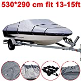 Eif 210D Heavy Duty Speedboat Boat Cover 14-16ft Waterproof Fish-Ski V-Hull Grey Bag