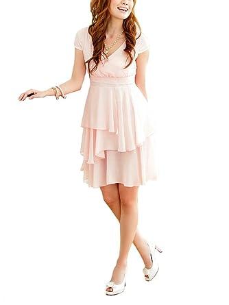 VIP Dress Chiffon Cocktailkleid   Abschlusskleid   Jugendweihekleid kurz in  Pink, Größe 38 1453e7c495