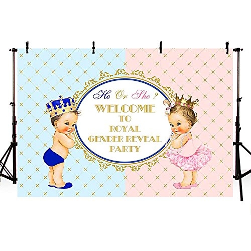 COMOPHOTO Gender Reveal Party Backdrop Photography Boy or Girl Royal Baby Shower Photo Background 7x5ft Vinyl Party Decor for Pictures -