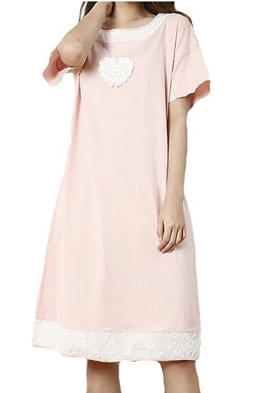 f680f19aa9d2 Jotebriyo Women Cotton Comfort Short Sleeve Nightgowns Homewear Sleepwear  Sleepwear Dress at Amazon Women s Clothing store