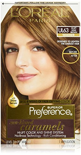 L'Oréal Paris Superior Preference Permanent Hair Color, UL63 Hi-Lift Gold - Brown Color Gold