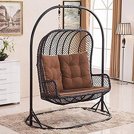 Astonishing Large Double Egg Chair Swing Wicker Rattan Hanging Garden Alphanode Cool Chair Designs And Ideas Alphanodeonline