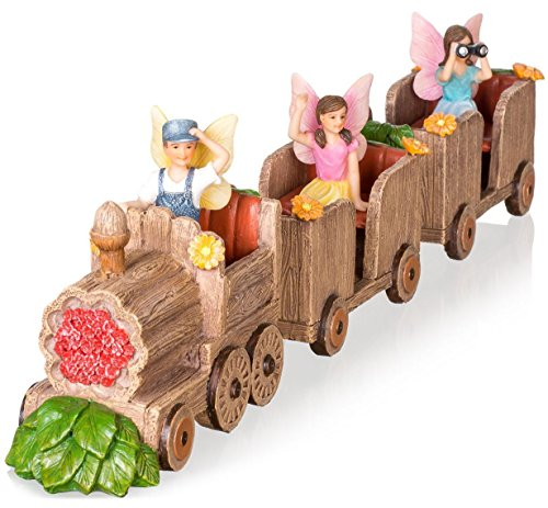 Resin Train Set (Joykick Fairy Garden Train Kit - Miniature Hand Painted Figurine Statues with Accessories - Set of 6pcs for Your House or Lawn Decor)