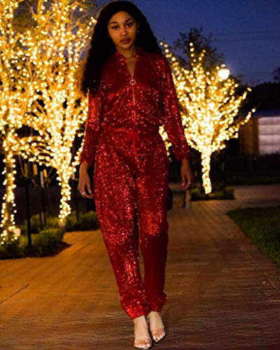 5c67c91e78c Amazon.com  DingAng Women Sexy Sparkly Sequin Long Sleeve Party Clubwear  Romper Jumpsuit Red  Clothing