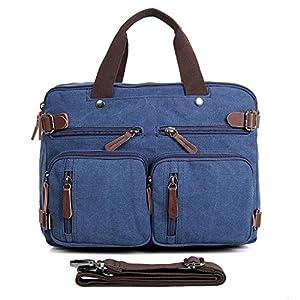 Clean Vintage Laptop Bag Hybrid Backpack Messenger Bag/Convertible Briefcase Backpack Satchel for Men Women- BookBag Rucksack Daypack-Waxed Canvas Leather, Blue