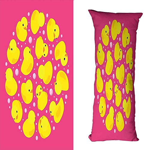 Customized Pillowcase Rubber Duck Fun Baby Duckies Circle Artsy Pattern Kids Bath Toys Bubbles Animal Print Soft and Comfortable W16 xL39 Pink and Yellow