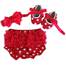 October Elf Baby Girls' 3 Chiffon Bloomers Diaper Cover Set Cute Shoes Headband