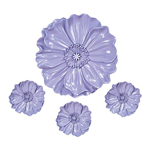 Collections Etc Purple Floral Resin Wall Art- Set of 4, Lavender floral art
