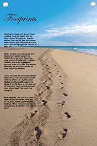 """""""Footprints In The Sand"""" - Wall Quotes Canvas Banner"""
