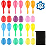 SOTOGO 24 Pack Neon Maracas Set Including 12 Pieces Egg Shakers In 6 Different Colors And 12 Pieces Noise Makers In 6 Different Colors With Drawstring Bag For Mexican Fiesta Party Favors Classroom