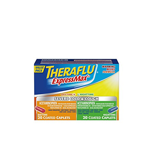 Theraflu Expressmax Day & Night Time Combination Caplets for Severe Cold & Cough, 40 Count