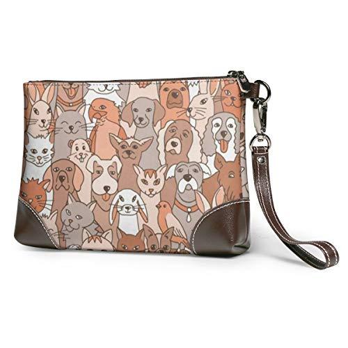 Women's Leather Zipper Wristlet Cute Animals Cellphone Card Wallets Clutch Holder Purse