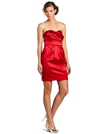 A. Byer Juniors Shakira Strapless Dress With Ruffled Bust Design, Red, 7