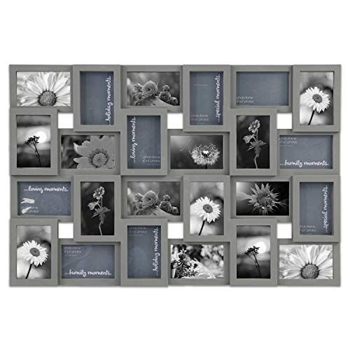 (Jerry & Maggie - Photo Frame Gray Classic 22 x 34 Picture Frame Selfie Gallery Collage Collection Wall Hanging for 6x4 Photo - 24 Sockets Union Display Picture Frame Memories - Wall Mounting Design)