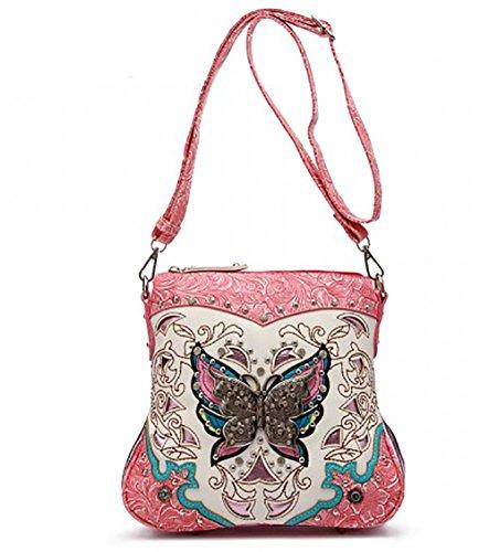 Western Crossbody - Top Handle Silver Butterfly Embossed Messenger Bag -