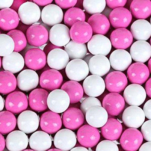 Hot Pink & White Sixlets Mini Milk Chocolate Balls 5LB Bag (5 Chocolate Balls)