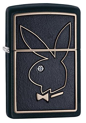 Zippo Playboy Bunny Head Emblem Black Matte Pocket Lighter