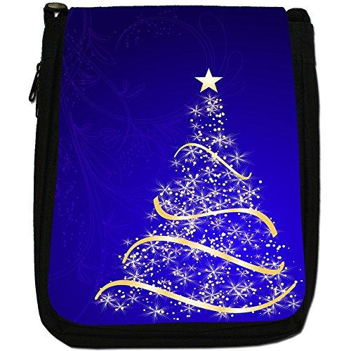 Blue Tree Bag Shoulder Size Gorgeous Canvas Medium Stunning Star Black Gold Christmas vwxnn7OWSF