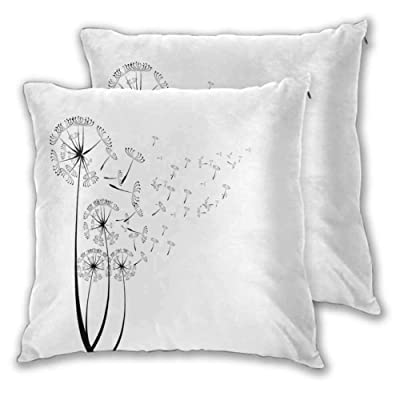 DRAGON VINES Outdoor Throw Pillow Covers Monochrome Dandelions with Seeds Blowing in The Wind Fluffy Flower Romance Theme Luxury Style W19 xL19: Home & Kitchen