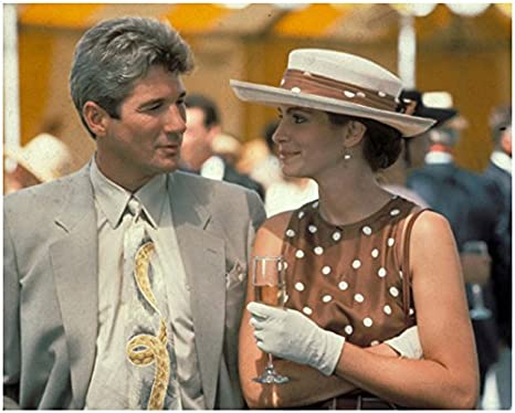 Pretty Woman 1990 8 Inch X 10 Inch Photograph Julia Roberts Brown White Dress Hat W Richard Gere Grey Suit Kn At Amazon S Entertainment Collectibles Store