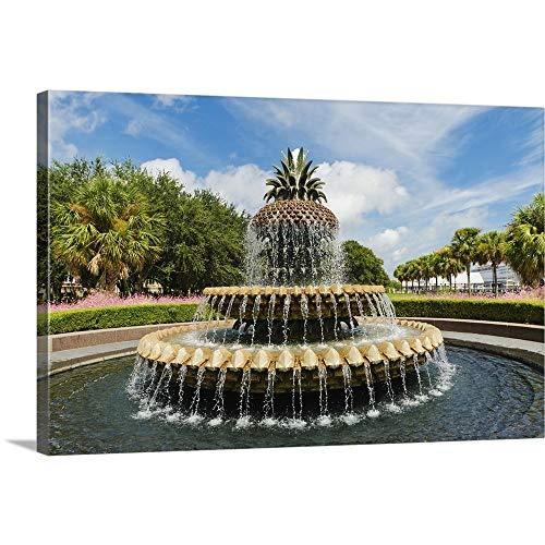 - USA, South Carolina, Charleston, Waterfront Park, Pineapple Fountain Canvas Wall Art Print, 18