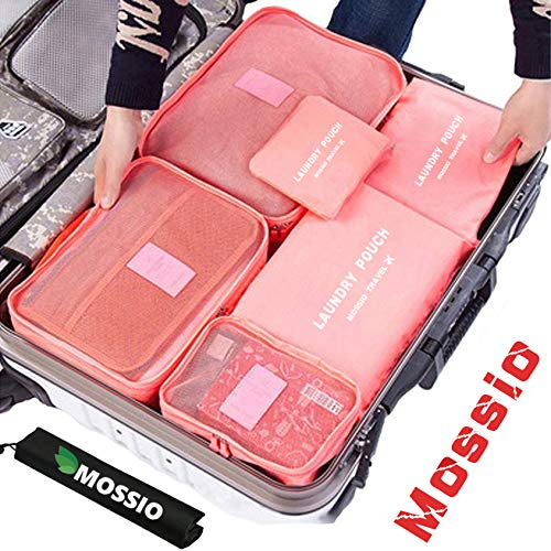 (Luggage Cubes,Mossio 7 Set Backpack Camping Clothes Cosmetics Mesh Bag Rose Red)