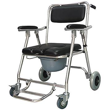 GAOFG bacinica polea silla de ruedas plegable ancianos inodoro portátil deshabilitado Silla Con Inodoro: Amazon.es: Deportes y aire libre