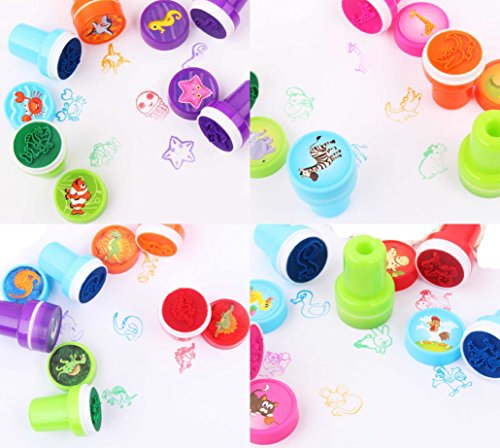 9Snail 40PCS. Self-ink Stamps Kids Party Favors Event Supplies for Birthday Party Gift Toys Boy Girl Goody Bag Pinata Fillers , Scrap booking school supplies Kids drawing - World Sunglass Totes