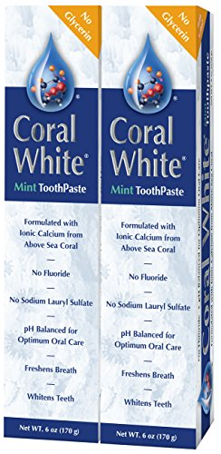 Coral White - Coral White Mint Toothpaste Natural Fluoride SLS Free Coral Calcium Remineralizing Toothpaste (2 Pack)