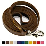 Logical Leather 6 Foot Dog Leash - Best for Training - Water Resistant Heavy Full Grain Leather Lead - Brown