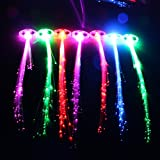 Midafon 15 Pack LED Color Changing Fiber Optic Hair Lights Barrettes Light Up Party Favors Glow Toys Supplies