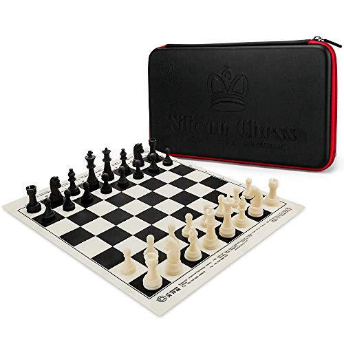 (AT MOUSE Upgraded Silicone Chess Set, Tournament Chess Set, Silicone Chess Pieces and Chess Game Board Mat with Package Bag)