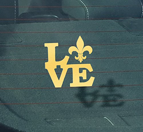 CMI GS2039 Fleur De Lis Love Louisiana Gold Decal | 5.2-Inches X 5-Inches | Premium Quality Vinyl Decal | Lousiana French New Orleans Decal -